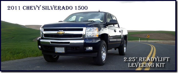 The 2011 Chevy Silverado with the 2.25 inch ReadyLift leveling kit installed.